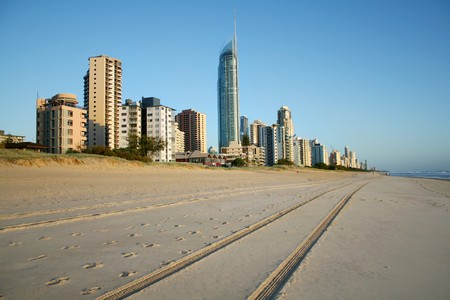 surfers paradise: Early morning view of Surfers Paradise skyline on the Gold Coast Australia from the Southern end of the beach.