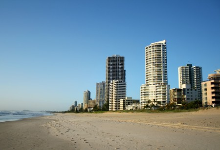 chillout: The Southern end of the Surfers Paradise skyline in Australia seen from the beach.