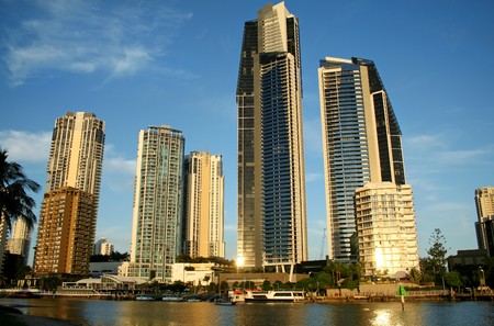 View of Surfers Paradise Australia skyline South of the Chevron Bridge. Stock Photo