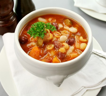 Delicious Italian minestrone soup ready to serve.