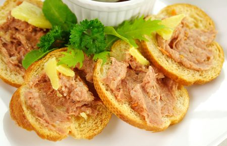 homestyle: Delicious homestyle country pate with toasted crisps ready to serve.