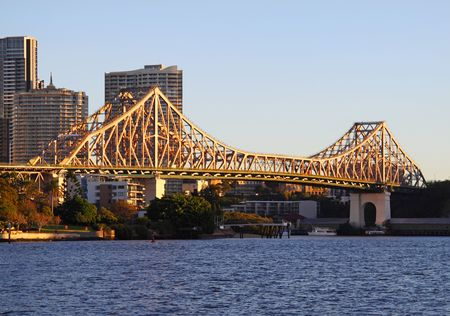 The iconic Story Bridge spanning the Brisbane River in Brisbane Australia at sunrise. Stock Photo