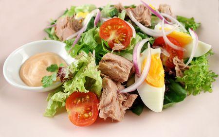 Freshly prepared tossed tuna and egg salad.
