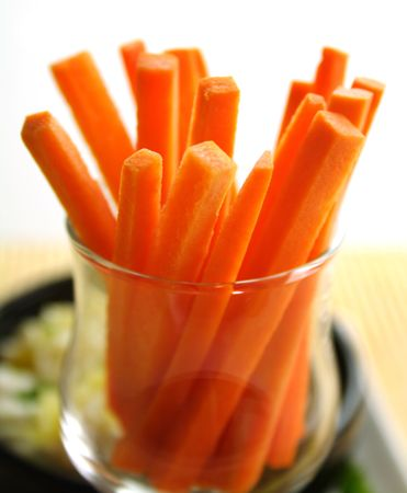 julienne: Julienne carrots in a glass ready to serve.
