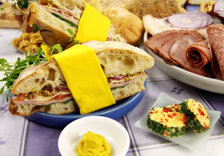 turkish bread: Ham and salad roll made with turkish bread and ingredients.