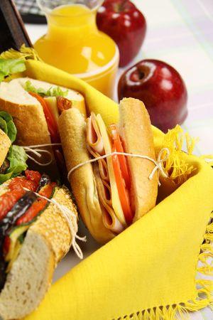 hamper: Salad rolls in a picnic hamper ready to be served.