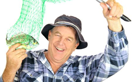 Proud fisherman holds his catch up in a net. Stock Photo - 6117967