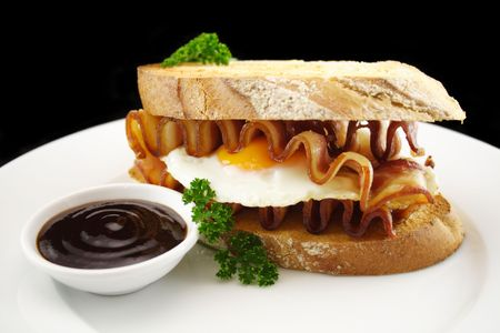 bbq sauce: Egg and Bacon Sandwich with BBQ Sauce