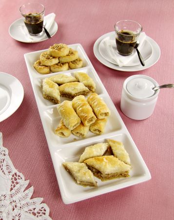 deliciously: Deliciously sweet  fresh baked bakalava served with coffee.