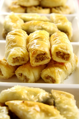 deliciously: Deliciously sweet  fresh baked baklava ready to serve. Stock Photo