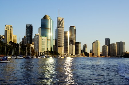Skyline of Brisbane CBD Australia seen from the Brisbane River.