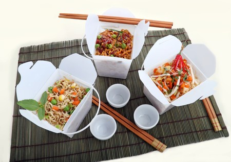BBQ egg noodles, vegetables noodles and chili rice noodle vermiceli in take away containers.