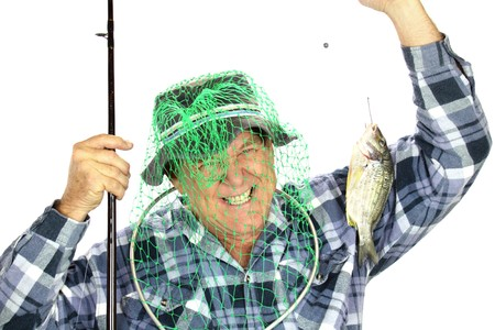 Middle aged fisherman ends up with fishing net over his head trying to catch a fish. Stock Photo - 7094839