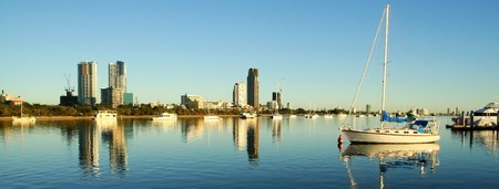 View of the boats on the Broadwater Gold Coast Australia looking toward Southport.