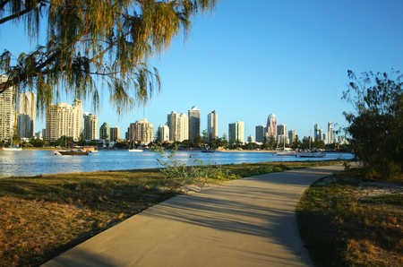 View across the Nerang River to Main Beach and Surfers Paradise on the Gold Coast Australia. Stock Photo - 7224600