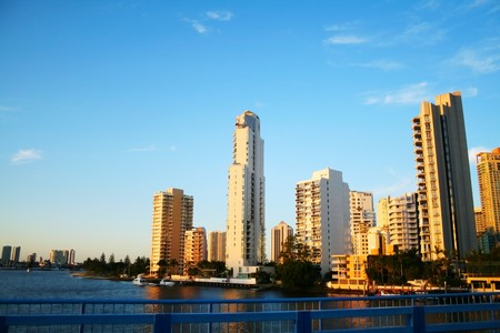 Surfers Paradise skyline seen from the Chevron Island Bridge looking toward Southport. photo