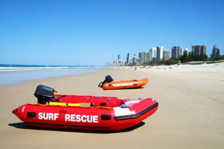 Surf rescue boats on Southport beach looking towards Surfers Paradise on the Gold Coast Australia. Stock Photo - 7326583