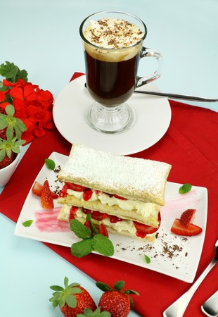 mille: Delicious strawberry mille feuille with fresh strawberries and Vienna coffee.