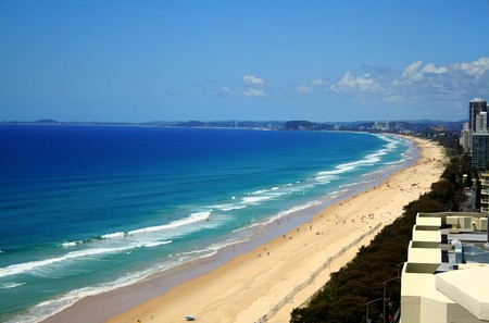 View across Surfers Paradise beach looking South down the Gold Coast in Australia.