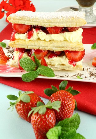 Delicious strawberry mille feuille with fresh strawberries and Vienna coffee. photo