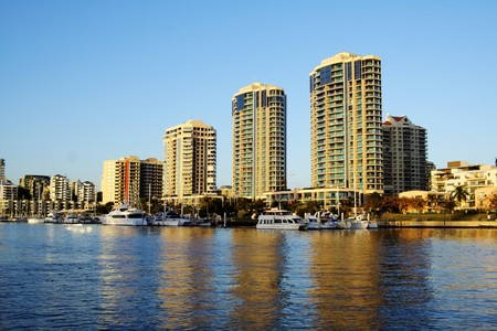 dockside: Dockside Marina and apartments in Brisbane Australia seen from the river in the early morning light. Stock Photo