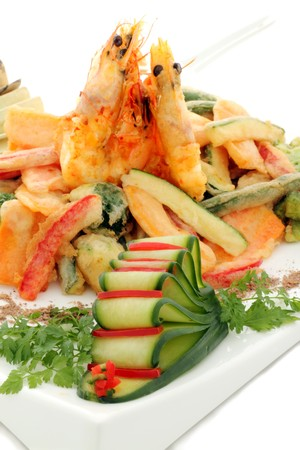 Japanese fried tempura with shrimp and vegetables with parsley garnish. Stock Photo - 7965957