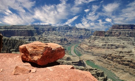 formidable: The view from Guano Point on the Grand Canyon West Rim overlooking the Colorado River. Stock Photo
