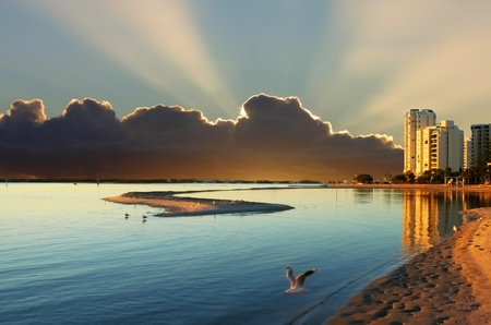 Spectacular sunrise over the lagoon at Labrador on the Gold Coast Australia. Stock Photo - 8254215