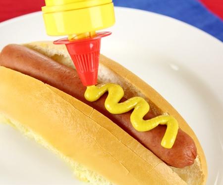 squeezed: Senape viene spremuto a un tiro di cane e pane caldo. Archivio Fotografico