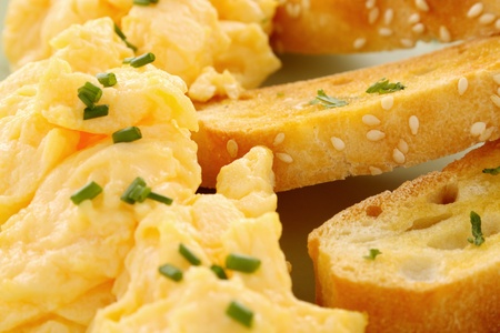 turkish bread: Delicious and healthy breakfast of scrambled eggs with Turkish bread toast.