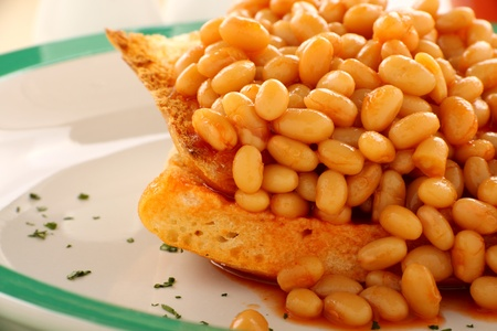baked beans: Delicious and simple old fashioned baked beans stack on toast.