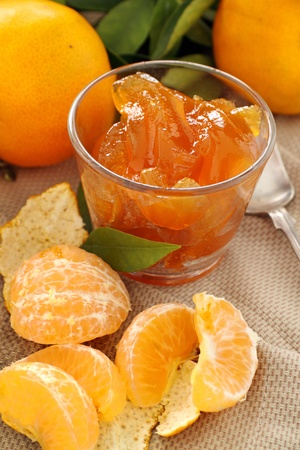 Fresh mandarins from the orchard with a fresh homemade mandarin jelly. photo