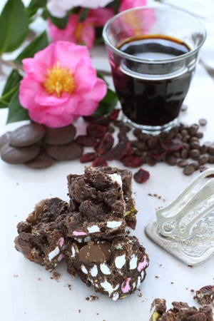 rocky road: Sweet rocky road chocolate and marshmallow with a long black espresso.