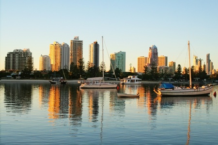 Looking towards Surfers Paradise and Main Beach Gold Coast Australia at dawn.