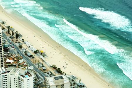gold coast australia: View across Surfers Paradise beach looking down on the Gold Coast Australia.