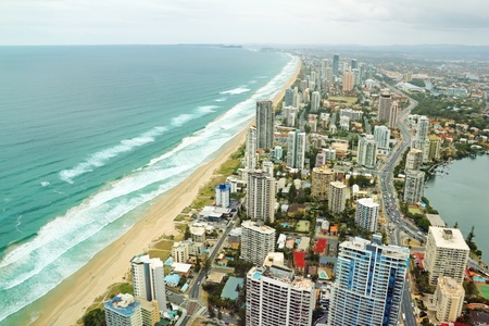 Aerial view of the famed Gold Coast in Queensland Australia looking from Surfers Paradise down to Coolangatta. photo