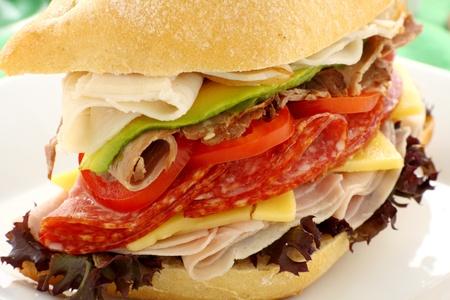 queso cheddar: Mega rollo de carne que consiste en jam�n, salami, roast beef y pavo con queso cheddar y ensalada.