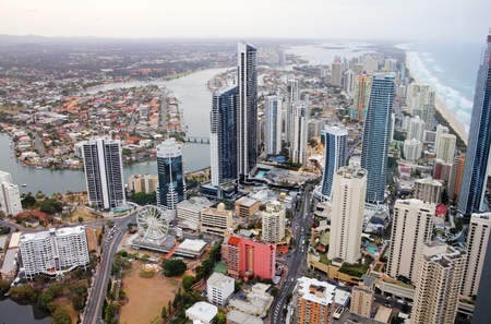 Aerial view of the famed Gold Coast in Queensland Australia looking from Surfers Paradise up to Southport photo