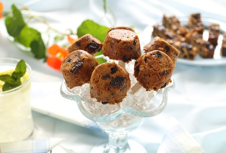 Cute sweet muesli dessert baked in the shape of popsicles ready to serve. photo