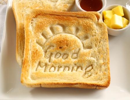 아침: 좋은 아침 토스트의 조각 버터와 꿀이 새겨 져. 스톡 사진