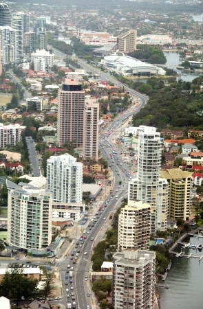 gold coast australia: The view looking from Surfers Paradise to Broadbeach on the Gold Coast, Queensland, Australia. Stock Photo