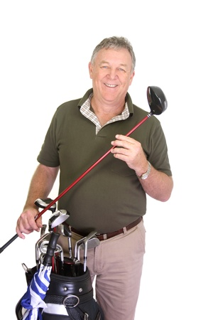 Wealthy middle aged man holding a golf club with golf bag.