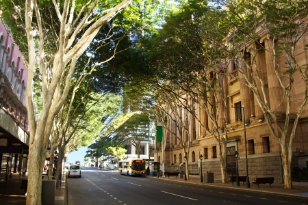 Adelaide Street in Brisbane, Queensland Australia with entrance to Brisbane City Hall.