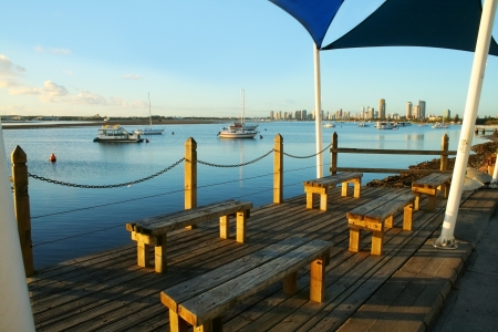 gold coast australia: Shade sails over benches on the observation deck by the Broadwater on the Gold Coast Australia