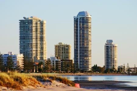 gold coast australia: Apartment towers at sunrise at Runaway Bay on the Gold Coast Queensland Australia  Stock Photo