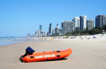 Surf rescue boat against the Surfers Paradise skyline on the Gold Coast Australia  Stock Photo - 14536668