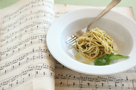 Delicious spaghetti with pesto ready to serve  photo