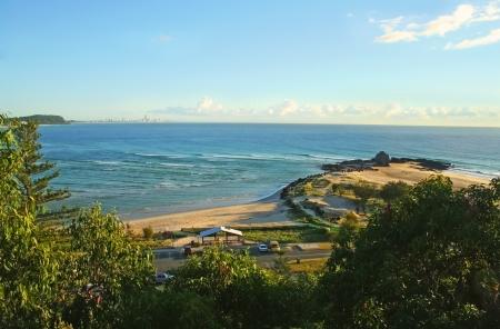 View across Currumbin Creek looking towards Surfers Paradise at sunrise on the Gold Coast Australia. photo