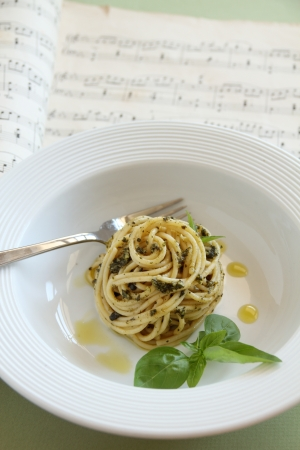 Delicious spaghetti with pesto ready to serve. photo