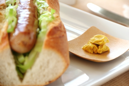 Tray of hot mustard with a pork and cabbage hot dog. Stock Photo - 16234197
